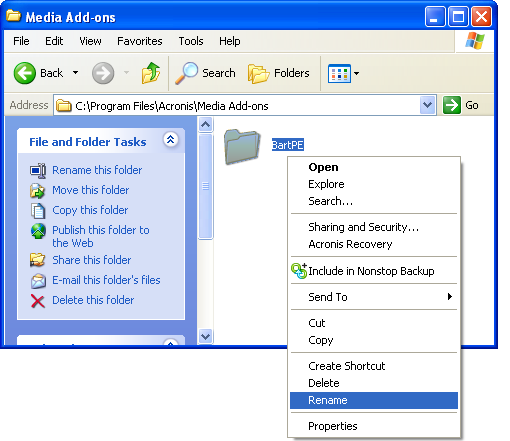 Working with Acronis True Image Plug-In for BartPE ...