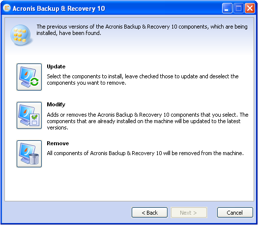 Acronis Backup & Recovery 10: An Attempt to Update Acronis