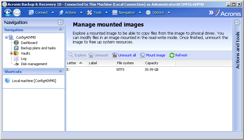 Acronis Backup \u0026 Recovery 10 Mounts an Image without a Drive Letter