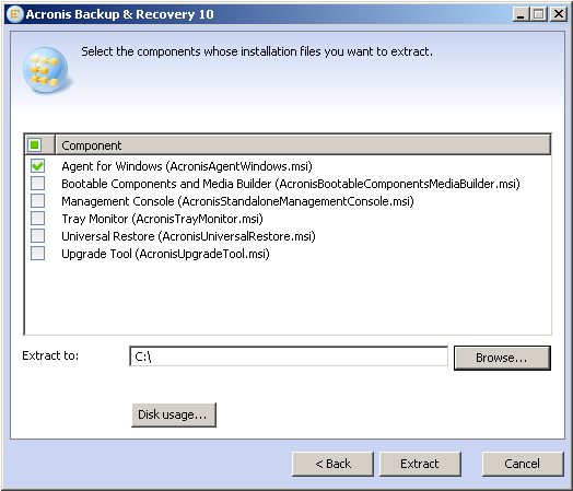 Acronis Backup & Recovery 10 Standalone: Extracted MSI File