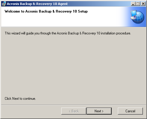 Acronis Backup & Recovery 10 Standalone: Extracted MSI File Prompts