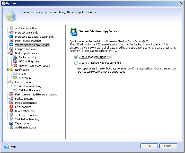 Acronis Backup & Recovery 10 Advanced: Backup with VSS Fails