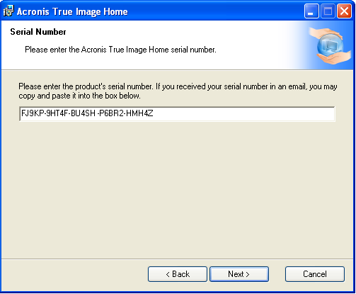 Acronis Home Products Serial Number Is Not Accepted