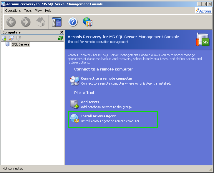 Installation of Acronis Recovery for MS SQL Server