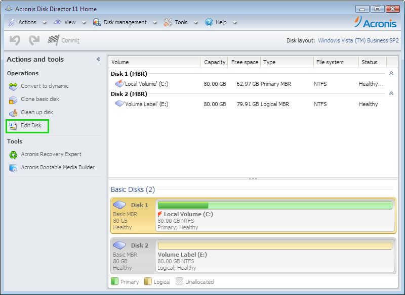 Acronis Disk Director: Acronis Disk Editor   Knowledge Base