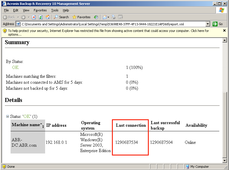 Acronis Backup & Recovery 10: Time in Reports Is Shown in