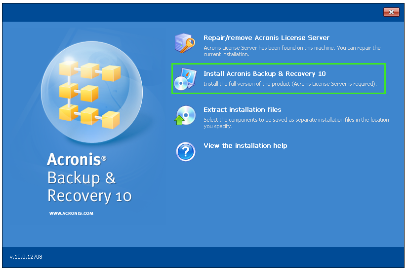 acronis backup recovery 10 universal restore license key