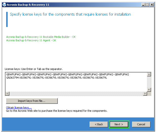 Acronis Backup & Recovery 11: Upgrade Keys Cannot Be Used
