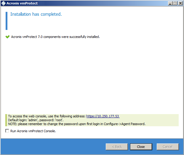Acronis vmProtect 7: Installation   Knowledge Base