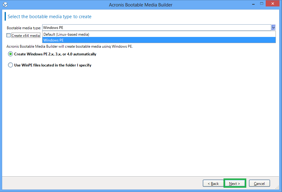 Acronis Backup 11 7/11 5: How to Create a WinPE Bootable