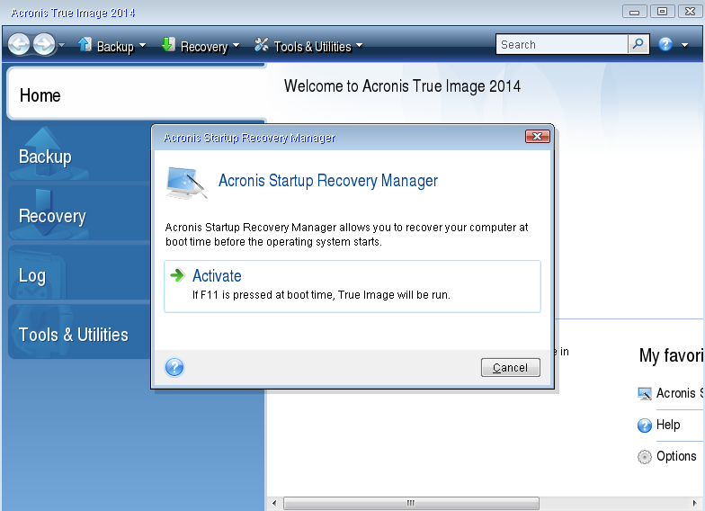Knowledge Base49448: Acronis True Image: Probleme mit dem Acronis Startup Recovery Manager behebenOriginal text