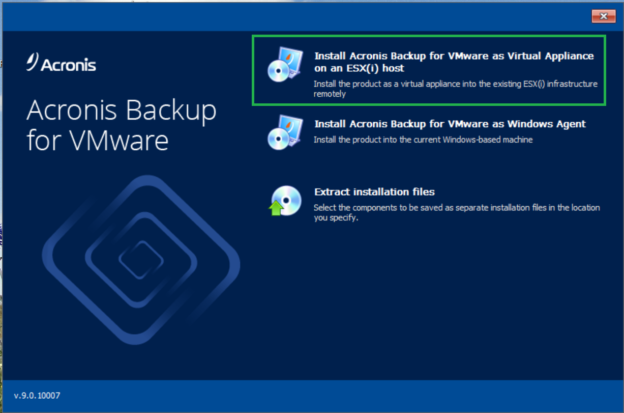 Acronis vmProtect 9: Updating to Acronis Backup for VMware