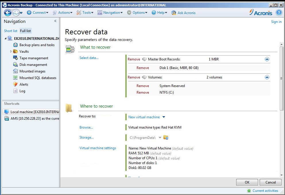 Acronis Backup: Converting Backup Archive to a KVM/RHEV Virtual