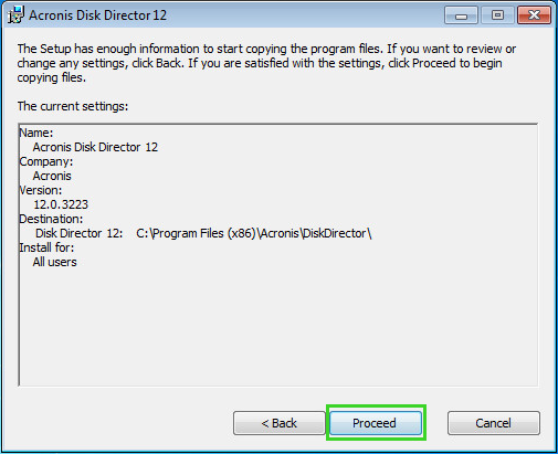 Acronis Disk Director 12: Installation Over an Older Version