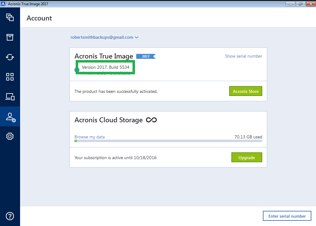 Viewing Build Number in Acronis Products | Knowledge Base