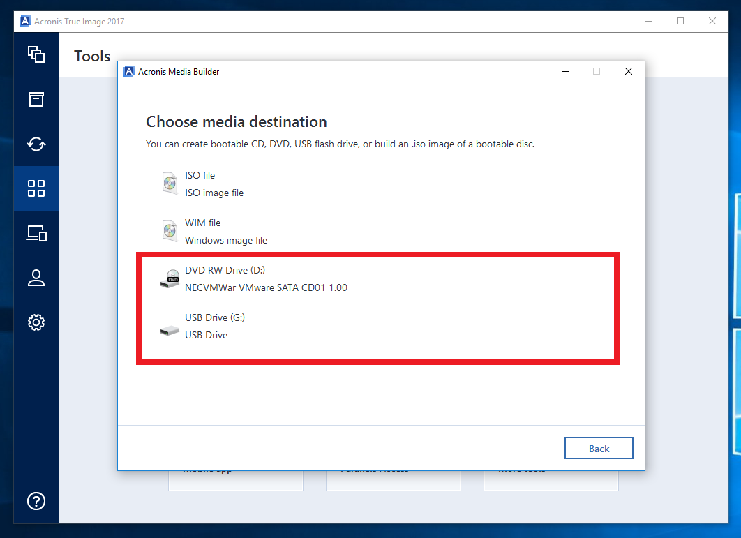 Acronis True Image 2017: How to create a WinPE-based bootable media