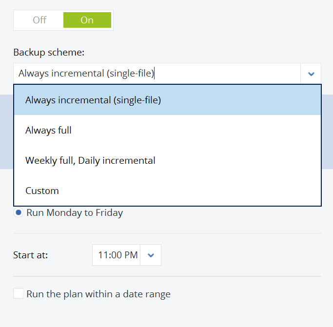 Acronis Backup Cloud: how to set up backup schedule