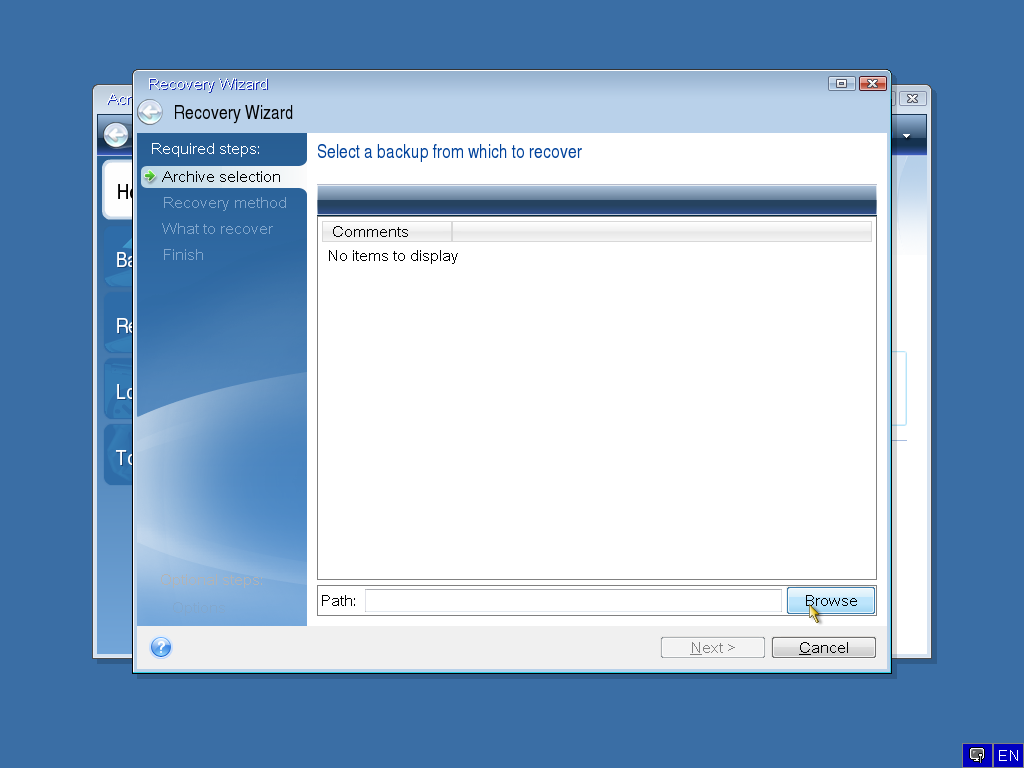 Acronis True Image: recovering Windows from a boot failure