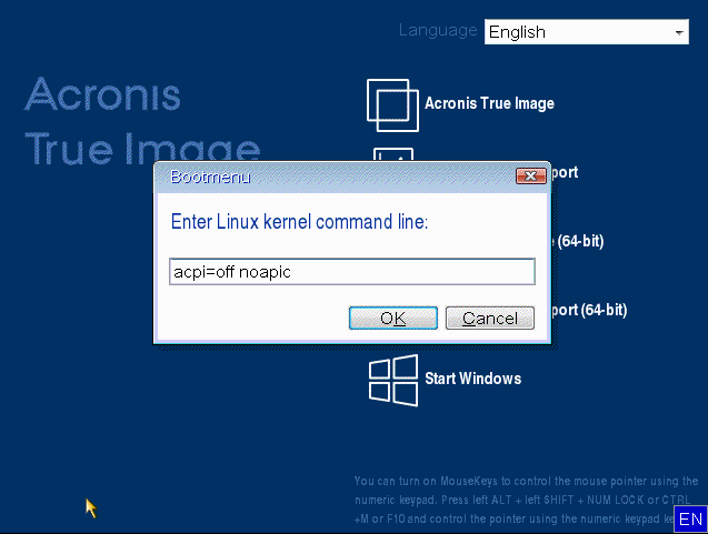 Acronis True Image Linux-based bootable media boots into black