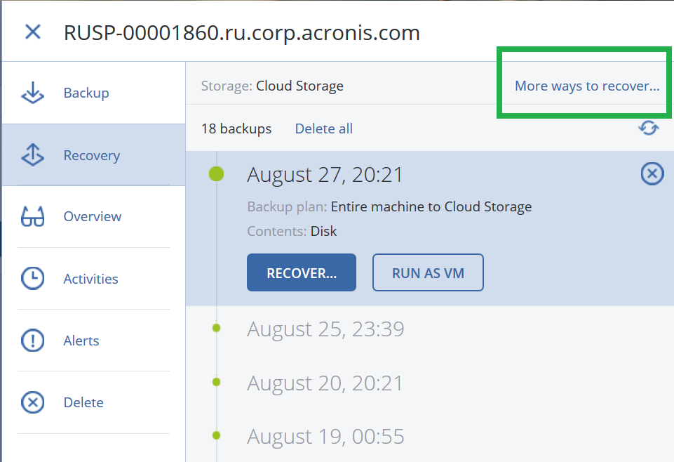Acronis Cyber Protect Cloud Web Restore Or Web Recovery Console Knowledge Base