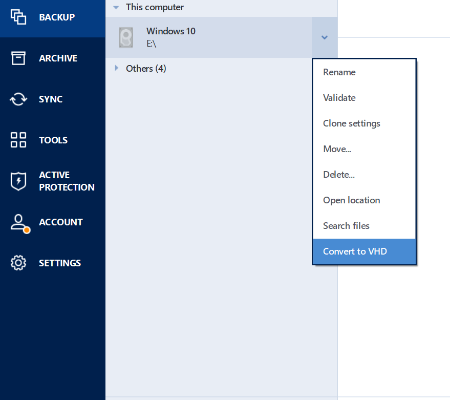 Acronis True Image 2018: configuring Windows native boot