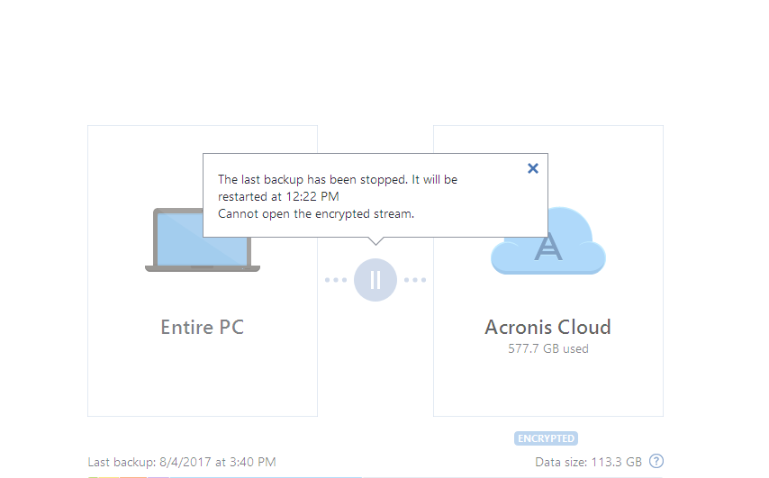 Acronis True Image: backup to Cloud fails with