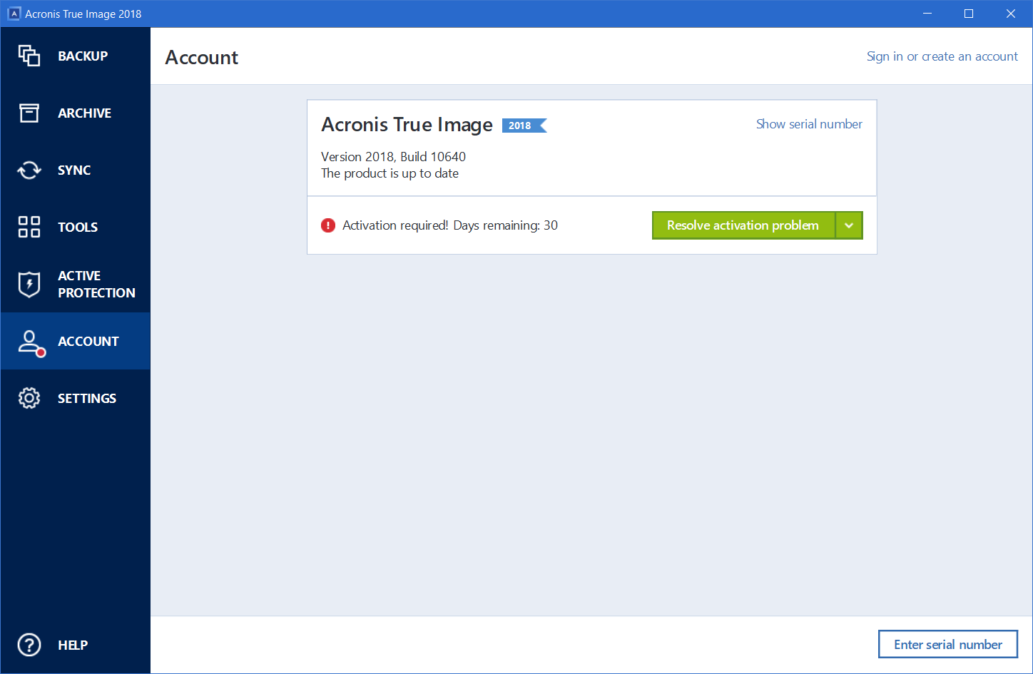 Acronis True Image 2018: how to activate serial number