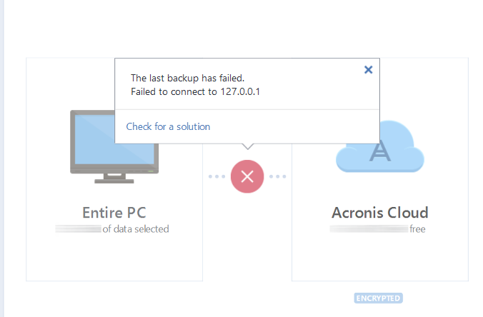 Acronis True Image 2018: Backup to Acronis Cloud fails with