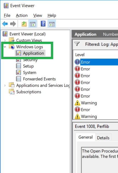 Checking Windows Event Log for issues with computer environment