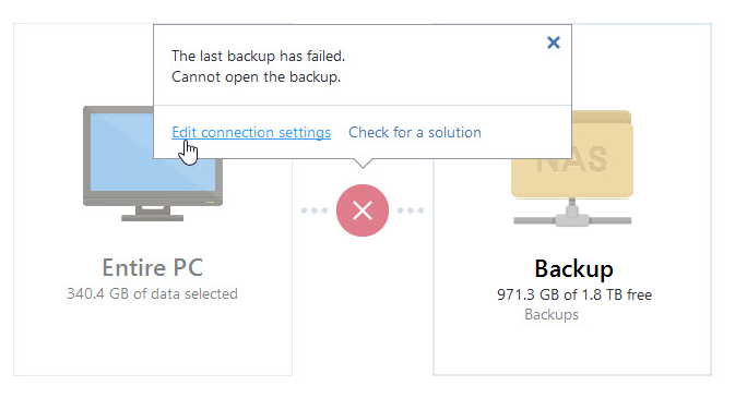 Acronis True Image: Backup to network share fails if guest