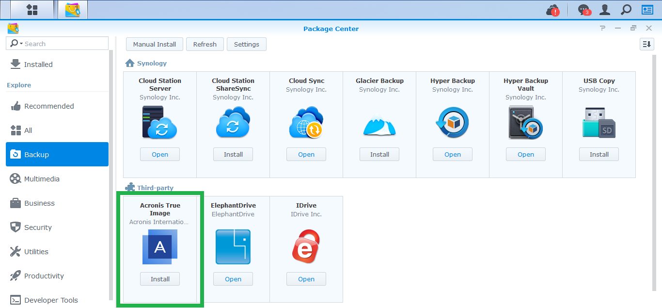 Acronis True Image 2019: how to install Acronis application