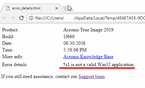 Acronis True Image: Installation Fails with