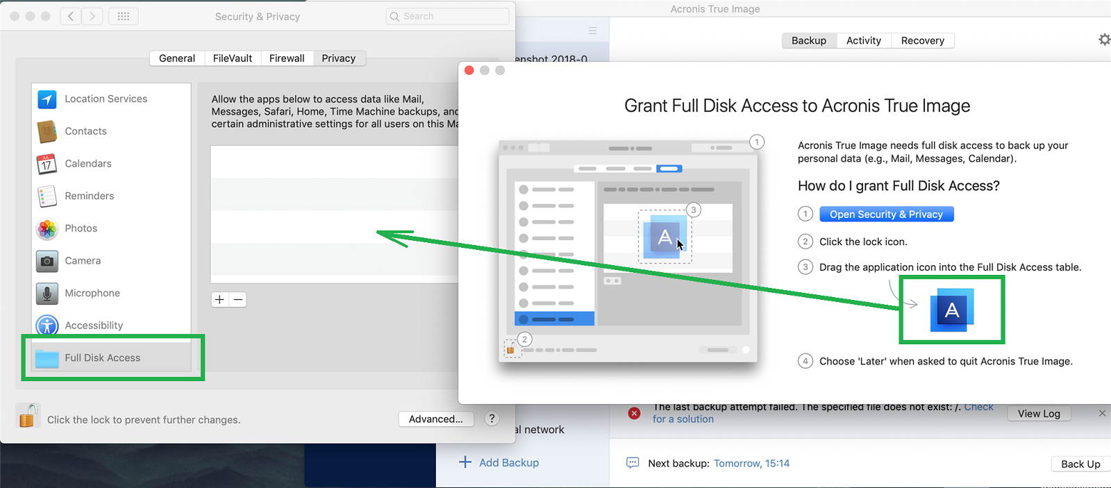 Acronis True Image 2019: how to grant full disk access on
