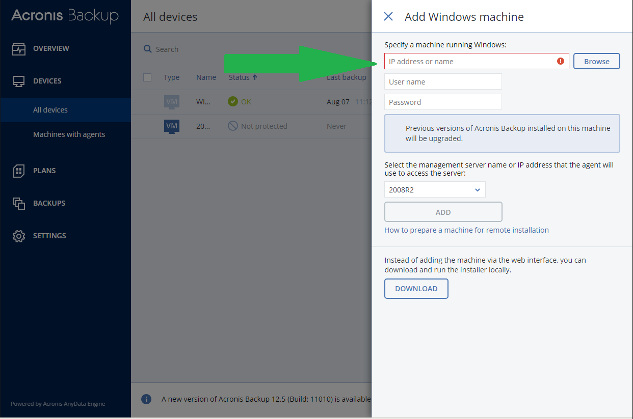 Acronis Backup 12 5: browsing network for machines with agents fails