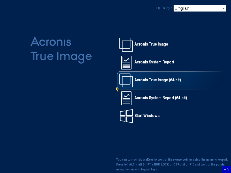Starting Acronis product from USB flash drive | Knowledge Base