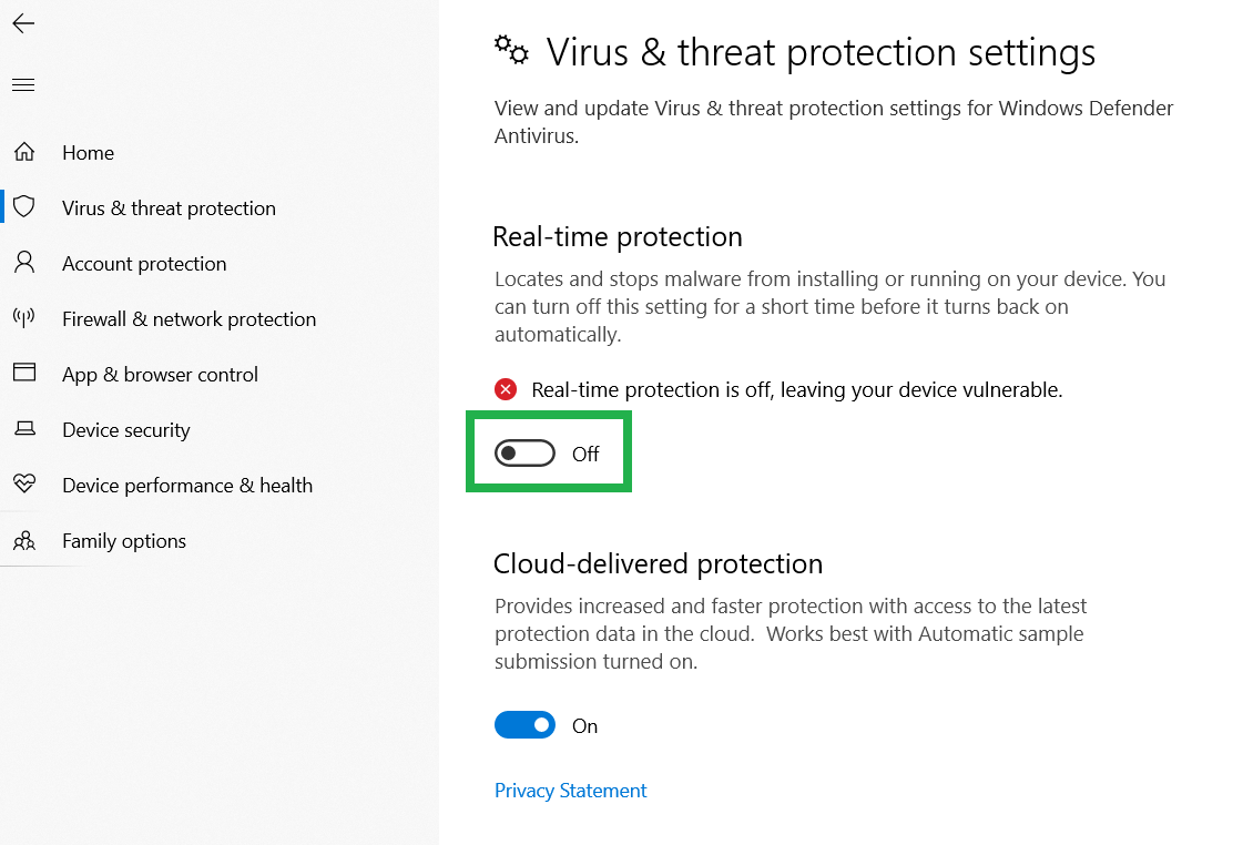 How to temporarily turn off Windows Defender Antivirus on