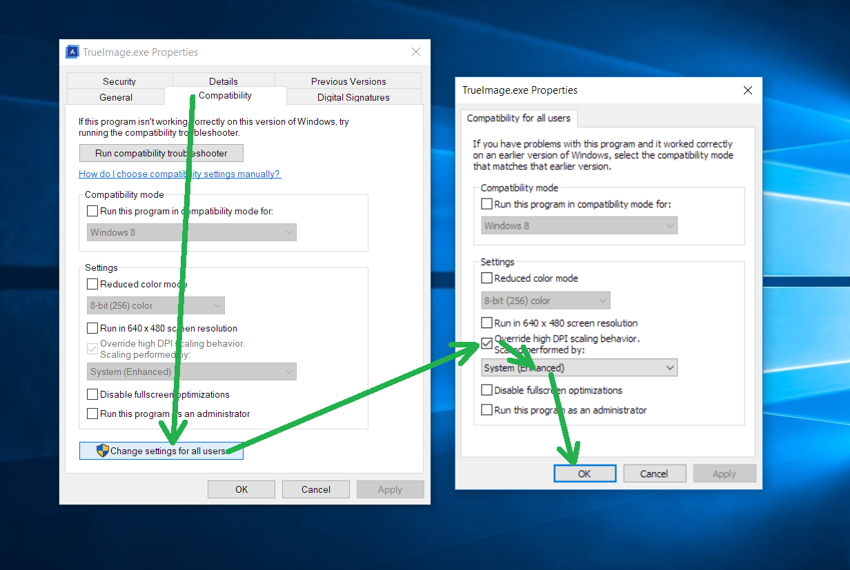 Acronis True Image: elements in the user interface are too small on