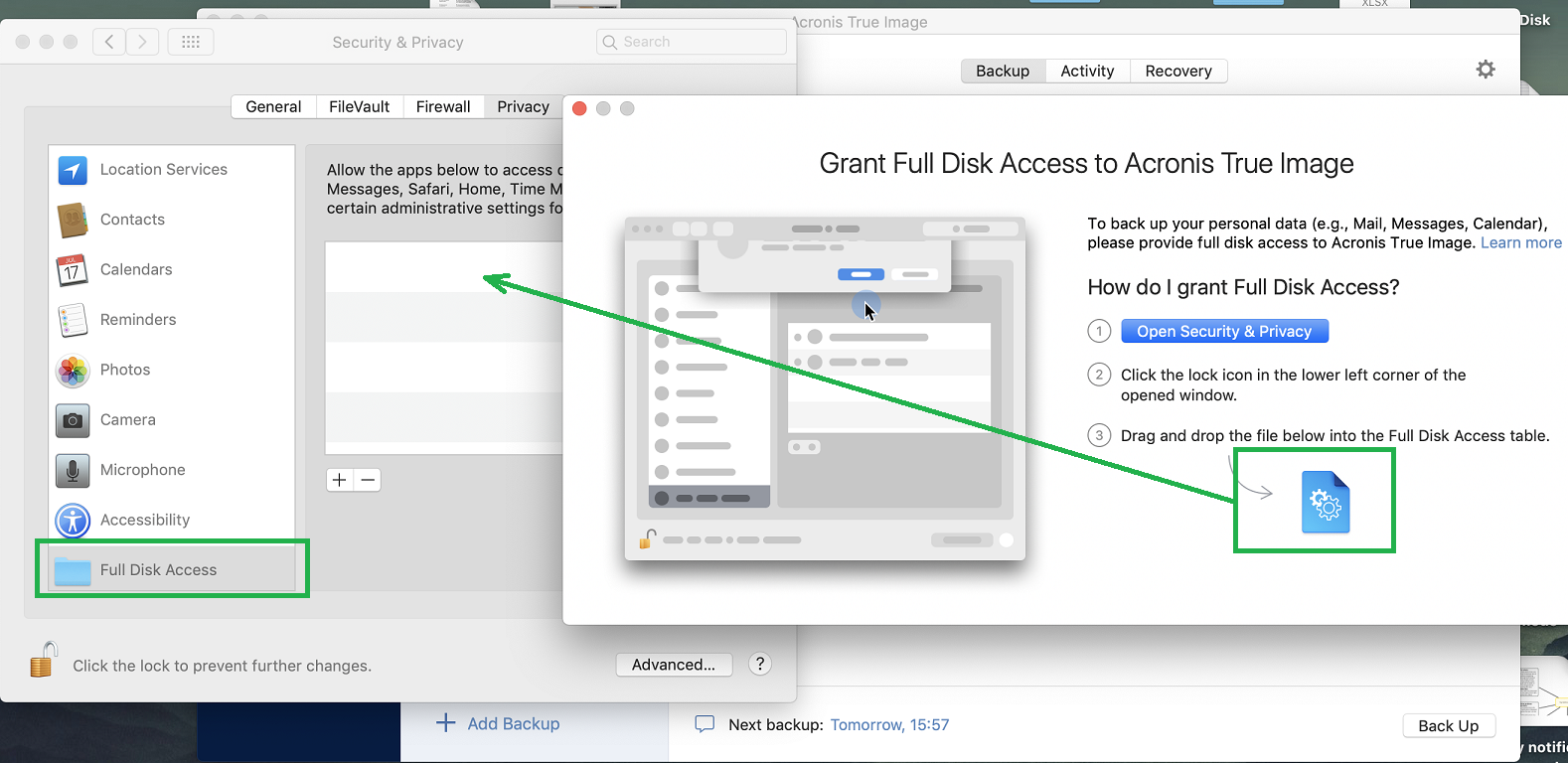 Acronis True Image 2019: how to grant full disk access on macOS