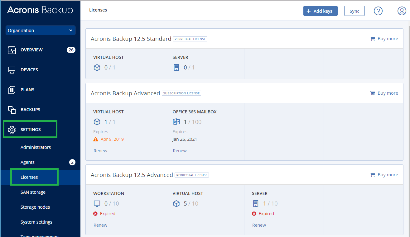 Acronis Backup 12 5: Troubleshooting license assignment