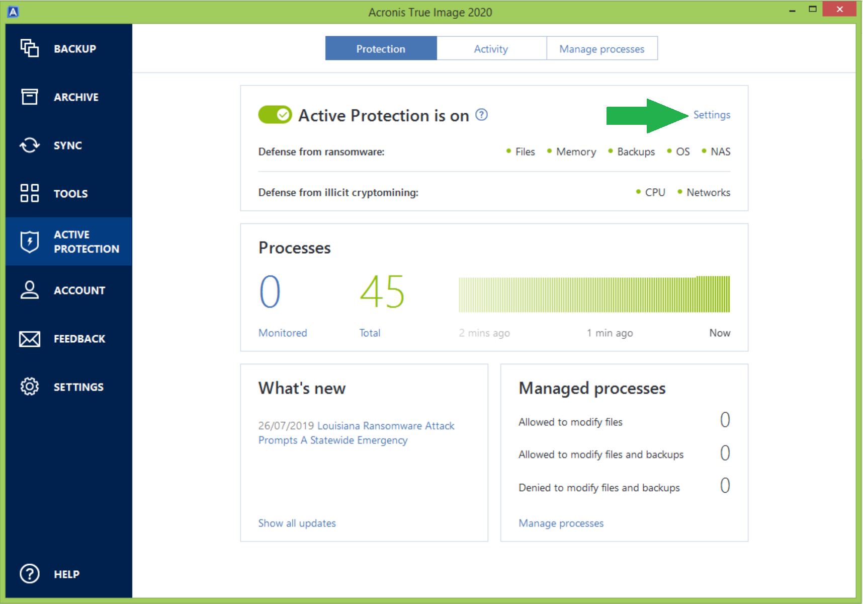 Acronis True Image: how to disable Active Protection in