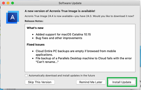 Acronis True Image (Mac): how to update to the latest build   Knowledge Base